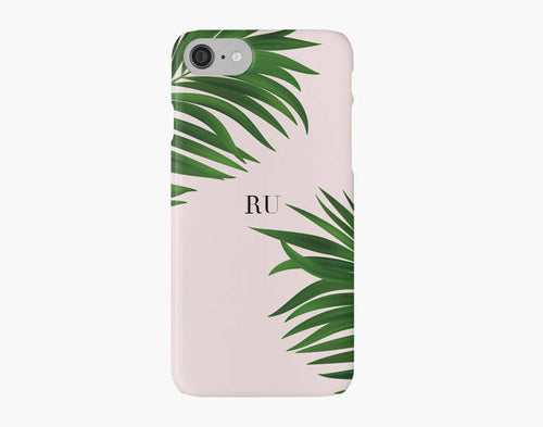 Green Palm Tree iPhone 8 case, Initials iPhone 8 plus case, pink iPhone X case - Ruby and B Studio