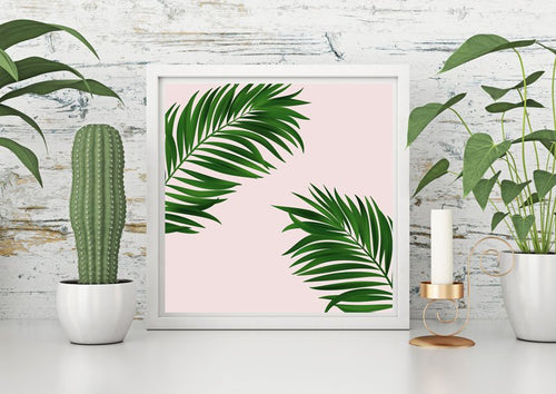 Pink palm tree print, green wall decor, pink decor, large wall print, wall decor, nursery decor, gift for her - Ruby and B Studio