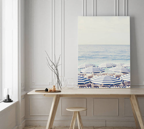 Aerial beach print, Wedding gift, Large wall print, Wall decor, French riviera print, Nautical home decor, Blue and white decor, Beach art - Ruby and B Studio