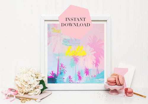 Palm print, Tropical print, Palm print downloadable, Yellow decor, Pink decor, Large wall print, Botanicals decor, Pink and green, Nursery - Ruby and B Studio