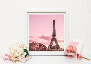 Paris Eiffel Tower print, Pink Photography Print, Baby's room, Large wall print, Paris instant download art, Paris photography - Ruby and B Studio