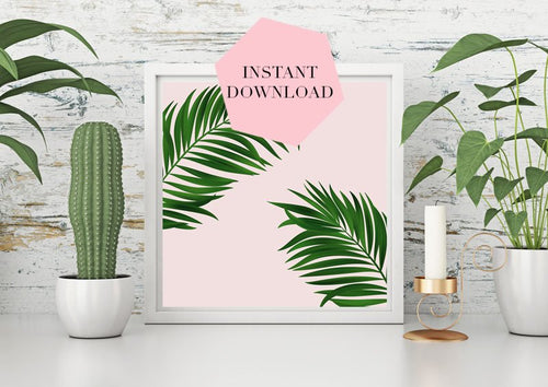 Palm print, Palm leaf print, Palm print downloadable, Green decor, Pink decor, Large wall print, Botanicals decor, Pink and green, dorm art - Ruby and B Studio