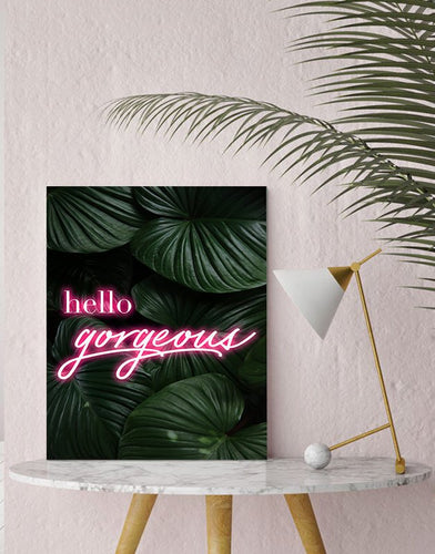 Botanical leaf print, Palm decor, neon pink print, green decor, large wall print, Green decor, Green wall art, Greenery, neon typography - Ruby and B Studio