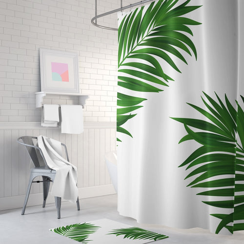 Green palm print shower curtain, white shower curtain, long shower curtain, green shower curtain, bathroom decor, bath tub curtain - Ruby and B Studio