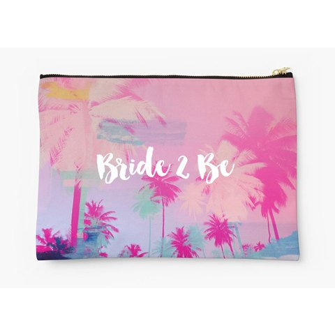 Bride 2 Be clutch bag - Accessory Pouch - Coin Purse - Palm tree - Ruby and B Studio