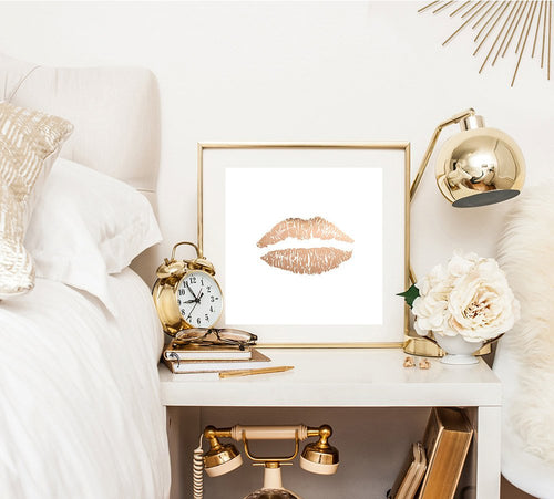 Faux Rose gold lips print - rose gold print - canvas wraps - feminine decor - white decor - Ruby and B Studio