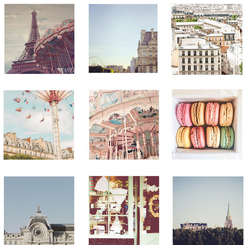 Paris photography print - set of 9 prints - Paris prints - Eiffel Tower - Paris gallery wall - Ruby and B Studio