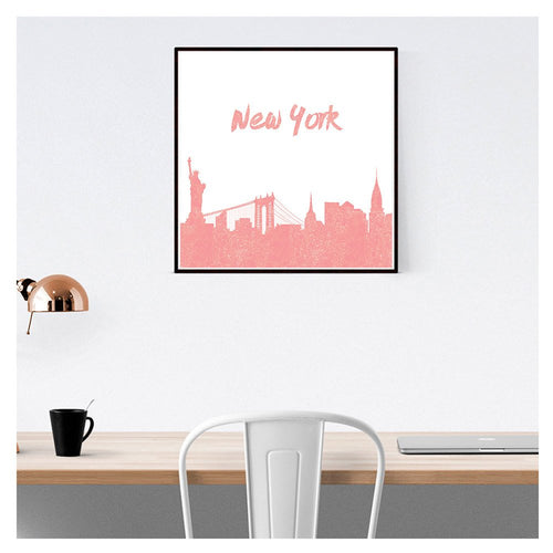 New York print - pink wall decor - Ruby and B Studio