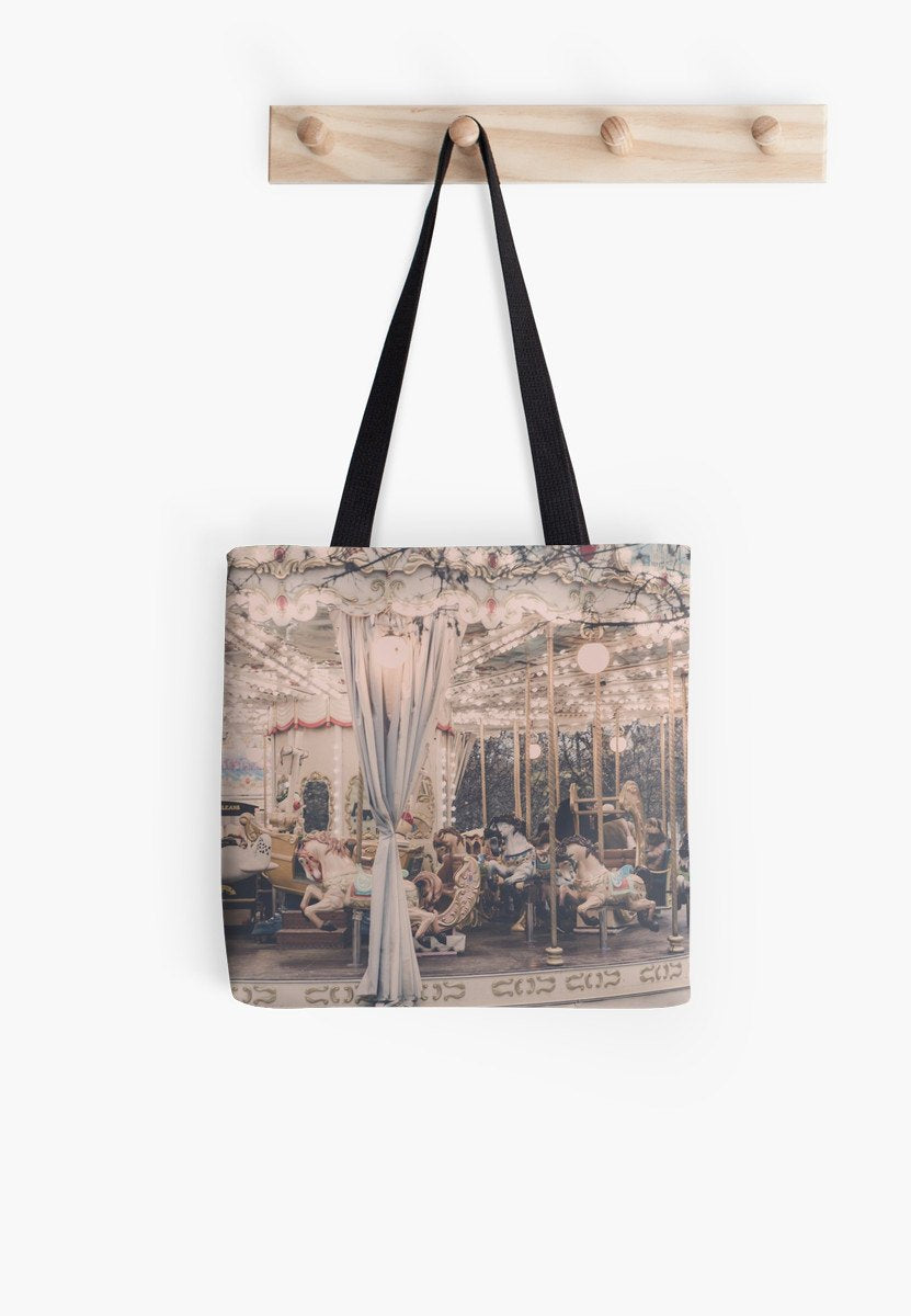 Paris Carousel Print Bag - Paris bag - Merry-go-round bag - Ruby and B Studio