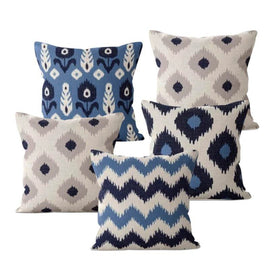Blue Beige Nordic Pillow Covers