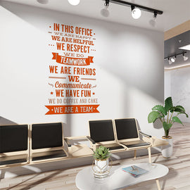"Office Rules ""We Are A Team"" Wall Sticker"