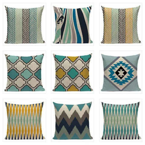 Yellow Turquoise Pillow Covers