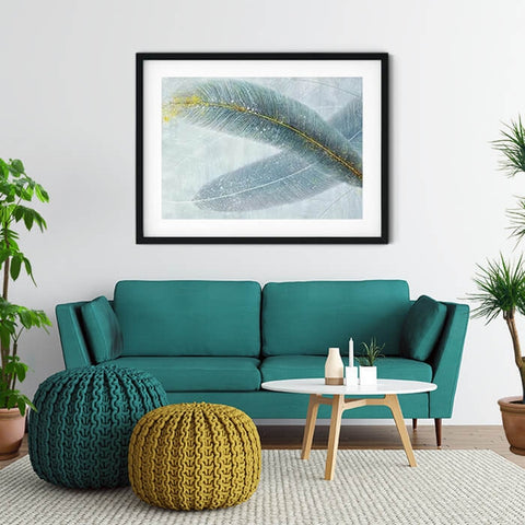 Modern White Yellow Feather Art