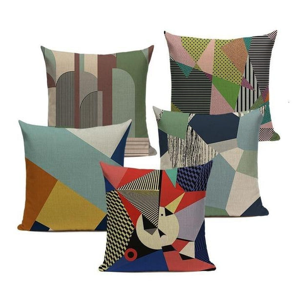 Abstract Geometric Retro Patchwork Cushion Covers-TipTopHomeDecor