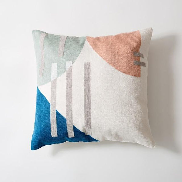 Abstract Grey Stripes Cotton Thread Embroidered Pillow Covers-TipTopHomeDecor