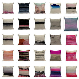 Abstract Pink Black Watercolor Ink Sofa Throw Pillow Cases-Tiptophomedecor