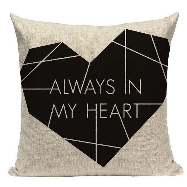 Always in my Heart Black White Cushion Covers-Tiptophomedecor-Interior-Design-Home-Decor