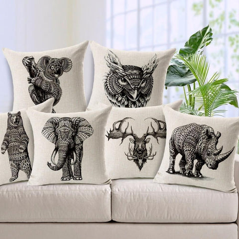 Animal Sketch Black White Throw Pillow Covers-Tiptophomedecor-Interior-Design-Home-Decor