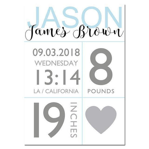Baby Boy Birth Stats Custom Nursery Canvas Art Prints-Tiptophomedecor-Interior-Design-Home-Decor