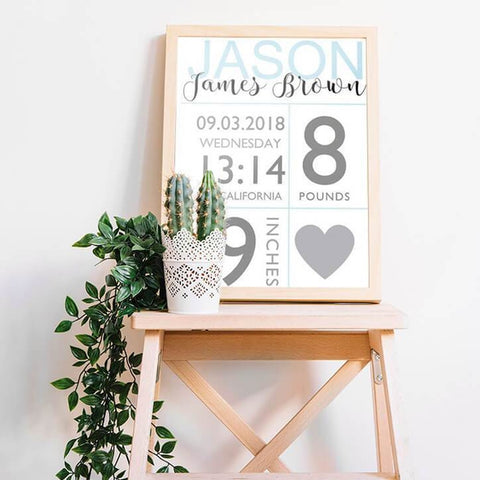 Baby Boy Birth Stats Custom Nursery Canvas Art Prints Home Decor