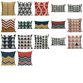 Basic Blue Red Triangle Pattern Cushion Covers-TipTopHomeDecor