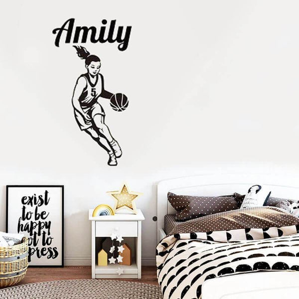 basketball girl custom name wall sticker decal home decor