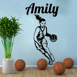 Basketball Girl Custom Name Wall Sticker