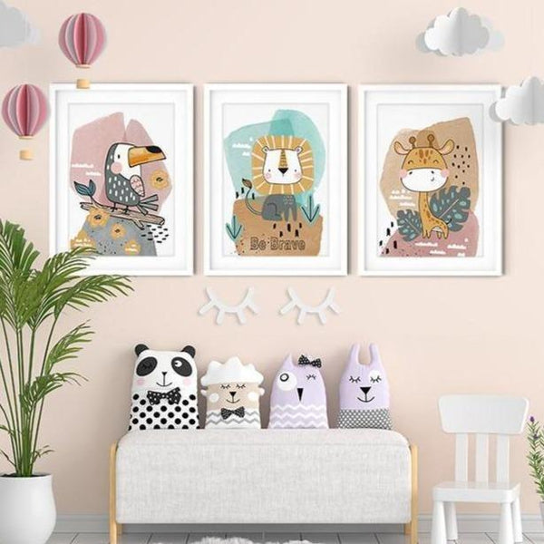 Be Brave Animal Watercolor Cartoon Nursery Canvas Art Prints-TipTopHomeDecor