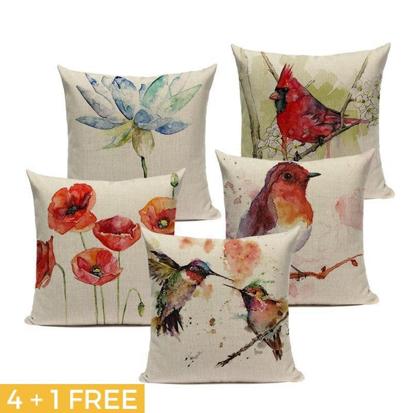 Watercolor Bird Cushion Covers-TipTopHomeDecor