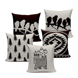 Black and White Cartoon Animal Nordic Throw Pillow Cases-Tiptophomedecor-Interior-Design-Home-Decor