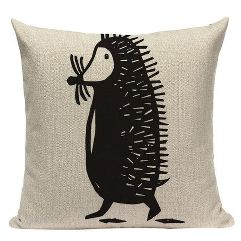 Black And White Funny Cartoon Animals Cushion Covers-TipTopHomeDecor