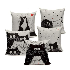Tiptophomedecor Black Cartoon Cat Cushion Covers