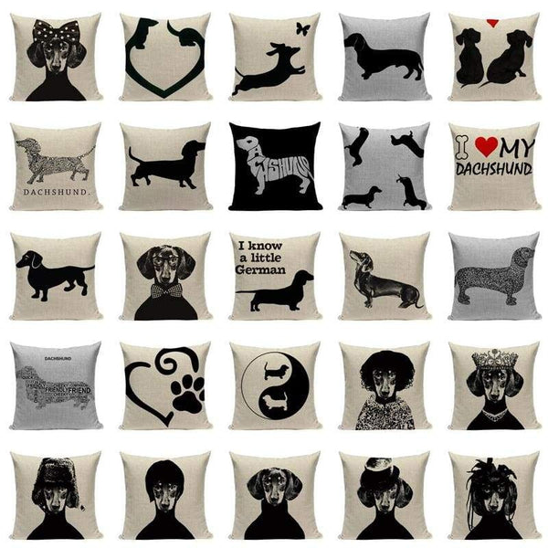 Black Dachshund Cushion Covers-TipTopHomeDecor