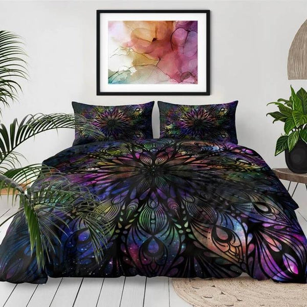 Black Feathers Mandala Boho Duvet Cover Set-TipTopHomeDecor