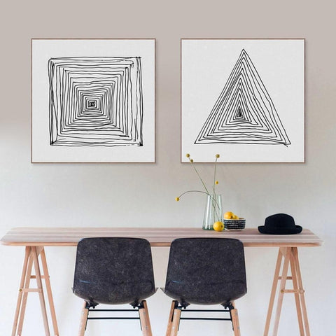 Black White Abstract Geometric Line Canvas Prints-Tiptophomedecor-Interior-Design-Home-Decor