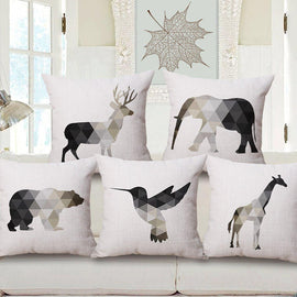 Black White Beige Nordic Geometric Animals Cushion Covers-Tiptophomedecor