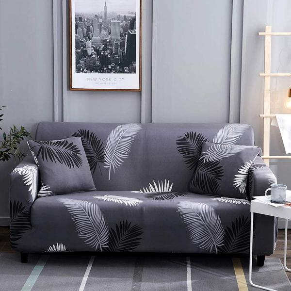 Black White Feathers Stretch Sofa Cover-TipTopHomeDecor