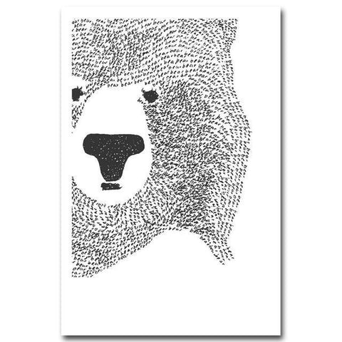 Black White Cartoon Polar Bear Animal Nursery Canvas Art Prints-Tiptophomedecor-Interior-Design-Home-Decor