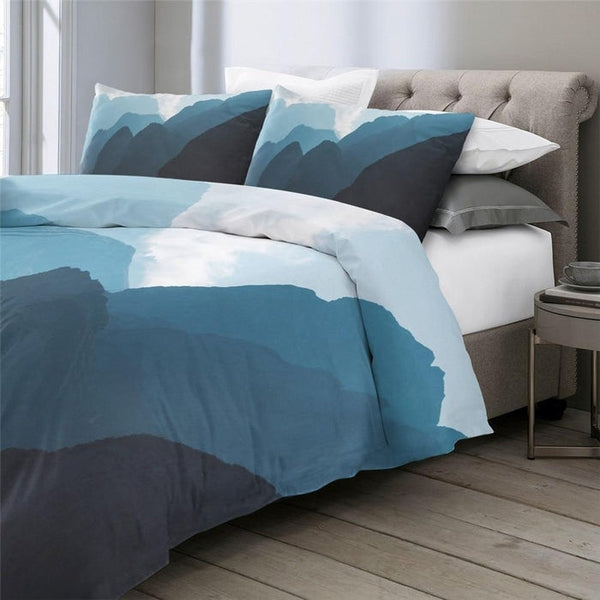 Blue Abstract Mountain Landscape Duvet Cover Bedding-TipTopHomeDecor