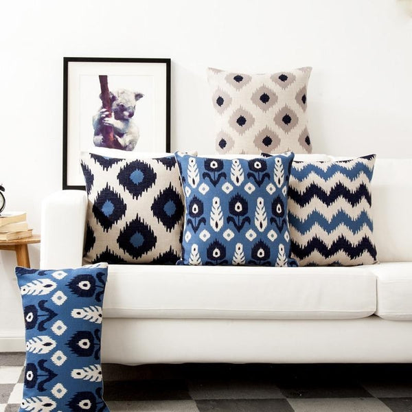 Blue Beige Nordic Geometric Pattern Pillow Covers-Tiptophomedecor