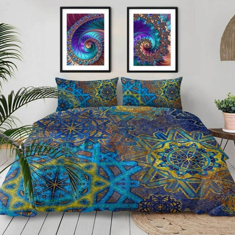 Blue Golden Snowflake Mandala Bedding Duvet Cover Set-TipTopHomeDecor