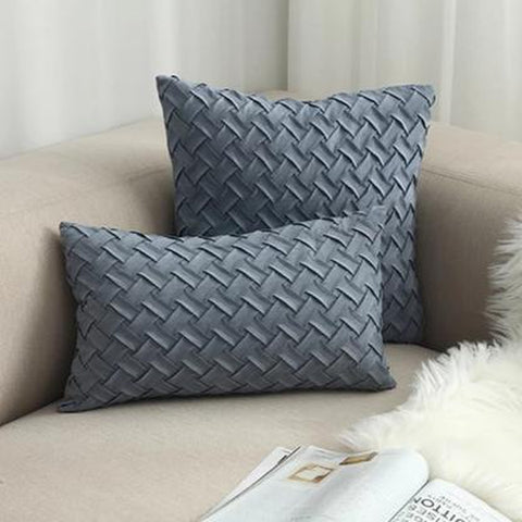 Blue Green Woven Pattern Cushion Covers-Tiptophomedecor-Interior-Design-Home-Decor