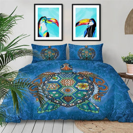 Blue Paisley Mosaic Turtle Bedding Duvet Cover Set-TipTopHomeDecor