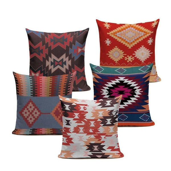 Blue Red Ethnic Bohemian Pattern Cushion Covers-Tiptophomedecor