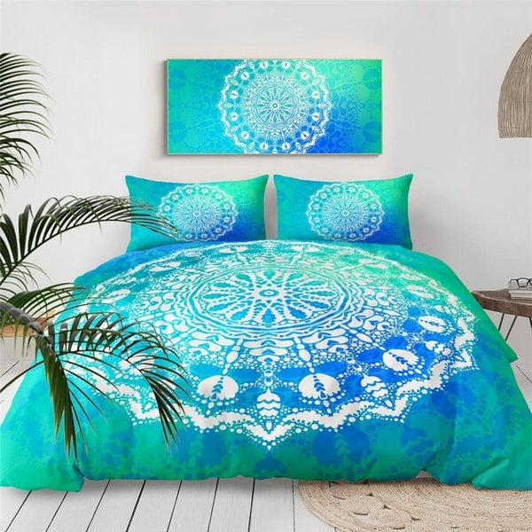 Blue Turquoise White Big Mandala Duvet Cover Bedding Set-TipTopHomeDecor