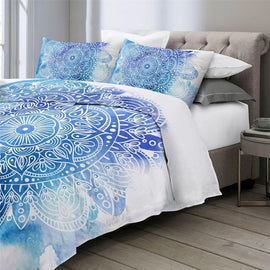 Blue Watercolor White Mandala Bohemian Duvet Cover Bedding Set-TipTopHomeDecor