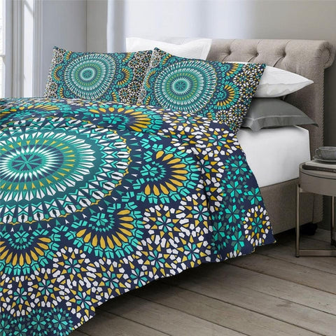 Blue Yellow Mosaic Mandala Bedding Duvet Cover-TipTopHomeDecor