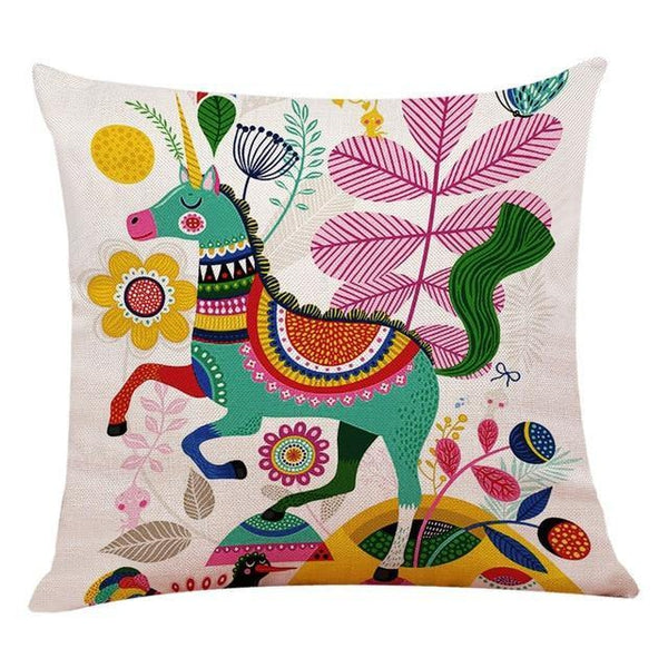 Bohemian Happy Colorful Flower Animal Linen Printed Cushion Covers-TipTopHomeDecor