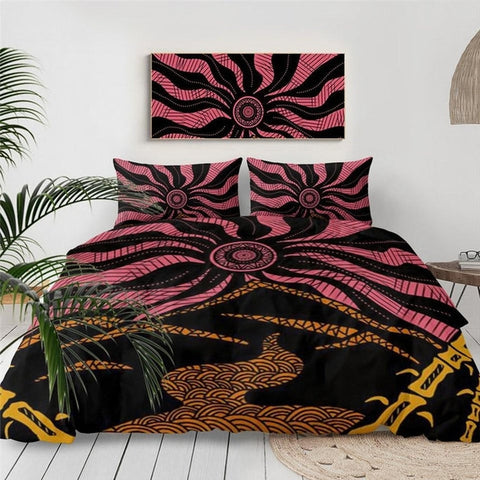 Bohemian Mid Century Abstract Sun Flower Duvet Cover Bedding Set-TipTopHomeDecor