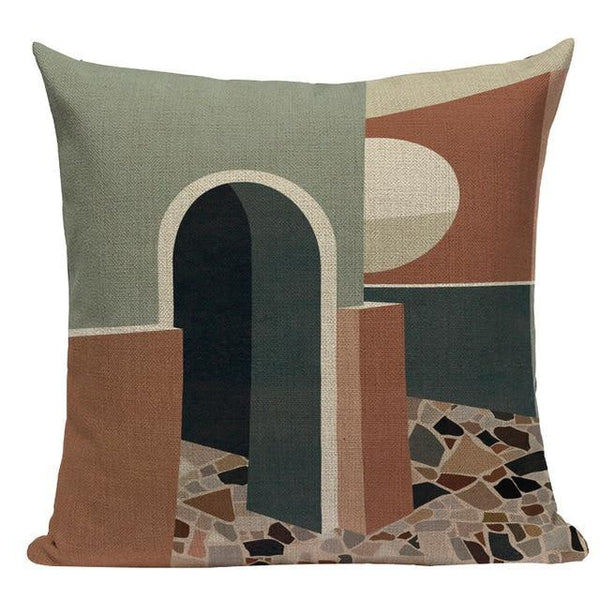 Bohemian Mid Century Terracotta Scenery Landscape Cushion Covers-TipTopHomeDecor
